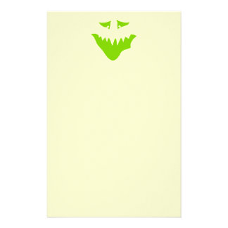 Lime Green Scary Face Monster Stationery