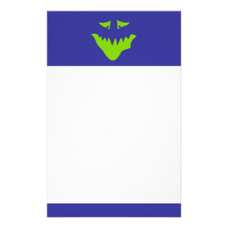 Lime Green Scary Face Monster Custom Stationery