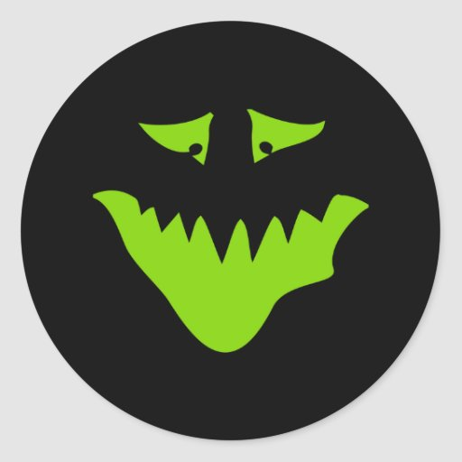 Lime Green Scary Face. Monster. Stickers