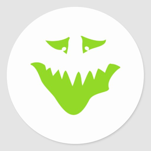 Lime Green Scary Face. Monster. Round Sticker