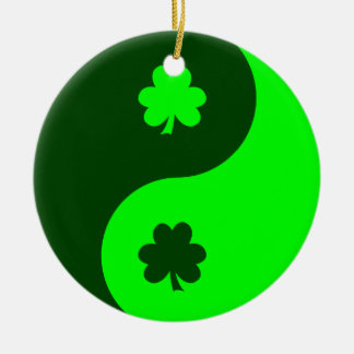 Lime Green Shamrock Yin Yang 2 Round Ceramic Decoration