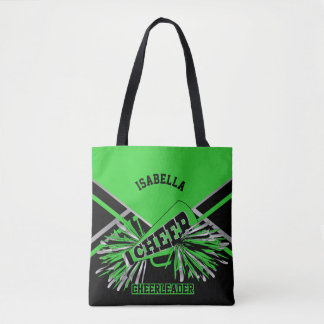 Lime Green, Silver and Black Cheerleader Tote Bag