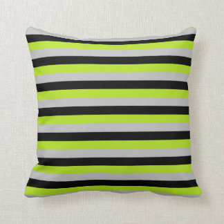 Lime Green, Silver and Black Stripes Cushion
