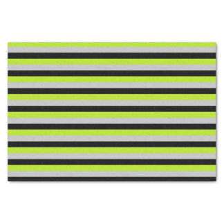 Lime Green, Silver and Black Stripes Tissue Paper