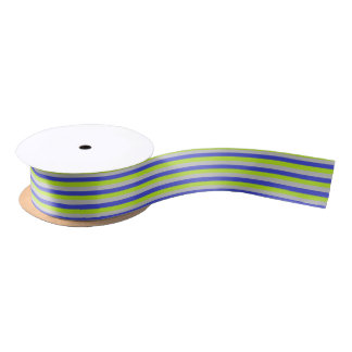 Lime Green, Silver and Blue Stripes Satin Ribbon