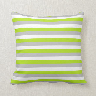 Lime Green, Silver and White Stripes Cushion