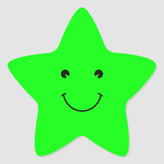 Lime Green Smile Star Sticker