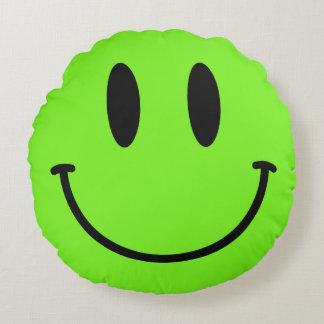 Lime Green Smiley Face Round Throw Pillow