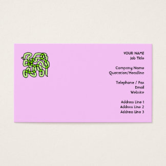 Lime Green Snake, on pink. Business Card