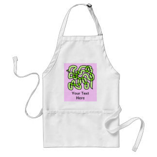 Lime Green Snake, on pink. Standard Apron