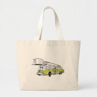 Lime Green Snorkel Fire Truck Cartoon Canvas Bags