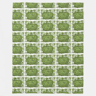 Lime-Green Spidery Pumpkin Fleece Blanket