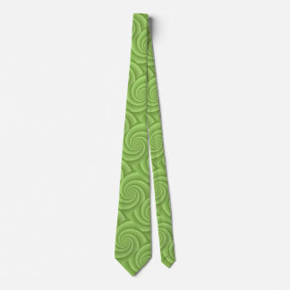 Lime Green Spiral in brushed metal texture Tie
