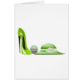 Lime Green Stiletto, Cupcake and Hat Art Card