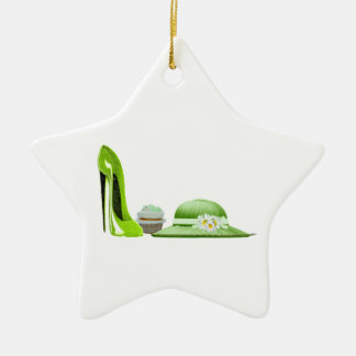 Lime Green Stiletto, Cupcake and Hat Art Ceramic Star Decoration