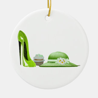 Lime Green Stiletto, Cupcake and Hat Art Christmas Ornament
