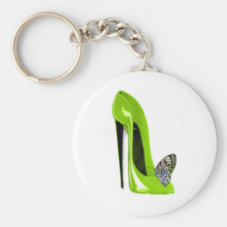 Lime Green Stiletto Shoe and Butterfly Key Ring
