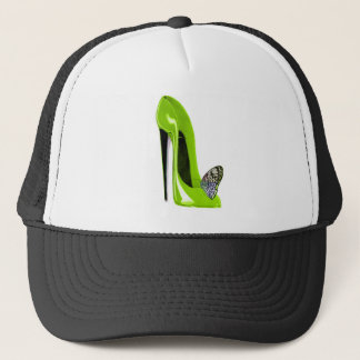 Lime Green Stiletto Shoe and Butterfly Trucker Hat