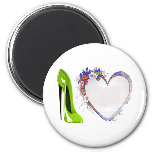 Lime Green Stiletto Shoe and Floral Heart Design Refrigerator Magnets