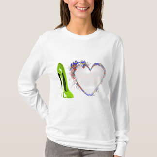 Lime Green Stiletto Shoe and Floral Heart Design T-Shirt