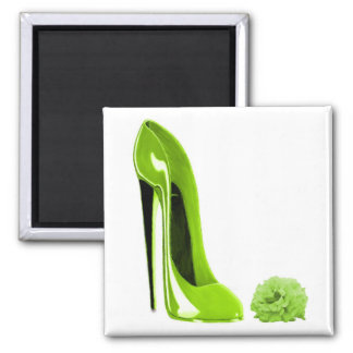 Lime Green Stiletto Shoe and Rose Fridge Magnets