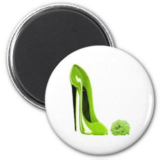 Lime Green Stiletto Shoe and Rose Fridge Magnet