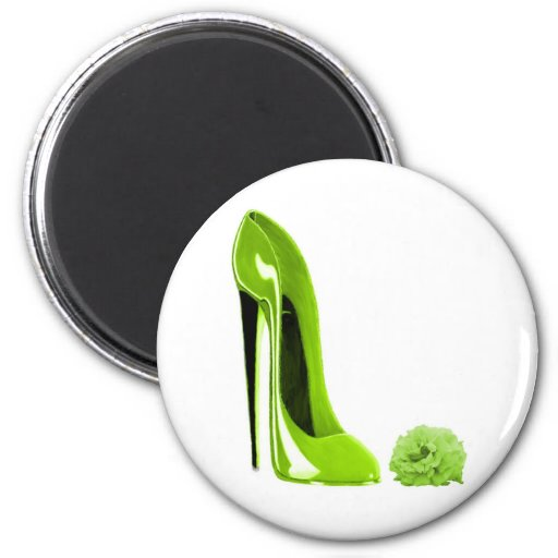 Lime Green Stiletto Shoe and Rose Refrigerator Magnet