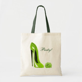 Lime Green Stiletto Shoe and Rose Tote Bag