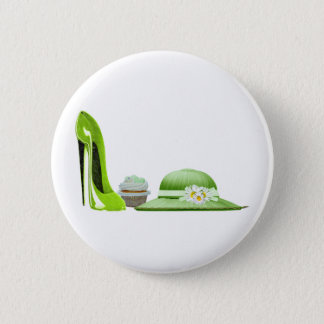 Lime Green Stiletto Shoe, Cupcake and Hat Art 6 Cm Round Badge