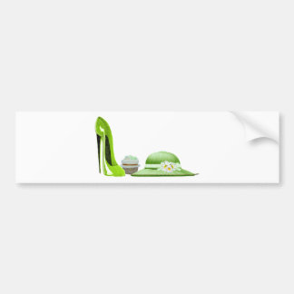 Lime Green Stiletto Shoe, Cupcake and Hat Art Bumper Stickers