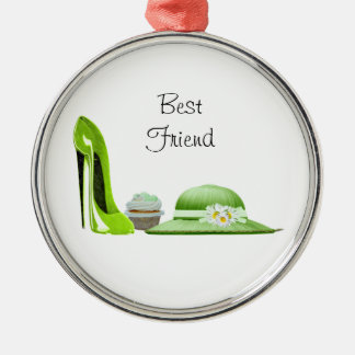 Lime Green Stiletto Shoe, Cupcake and Hat Art Christmas Ornament