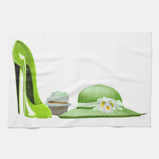 Lime Green Stiletto Shoe, Cupcake and Hat Art Hand Towels