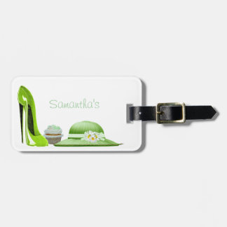 Lime Green Stiletto Shoe, Cupcake and Hat Art Luggage Tag
