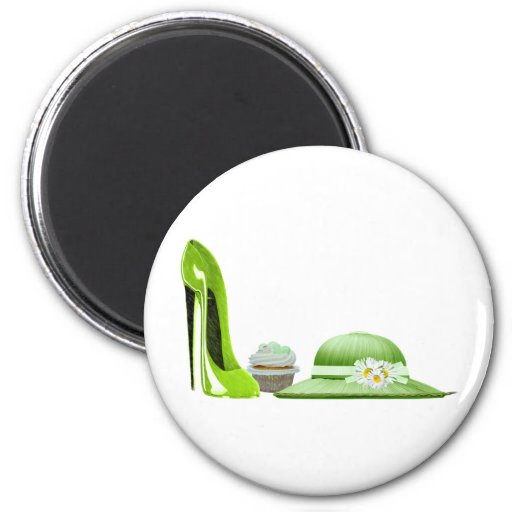 Lime Green Stiletto Shoe, Cupcake and Hat Magnet