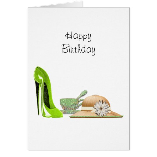 Lime Green Stiletto Shoe, Hat and Teacup Art