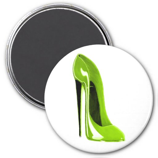 Lime Green Stiletto Shoe Magnets