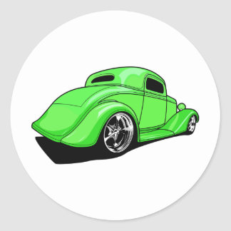 Lime Green Street Rod Classic Round Sticker