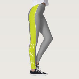 Lime Green Stripe on Dove Grey Monogram Leggings
