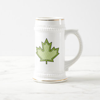 Lime Green Striped Applique Stitched Maple Leaf Beer Steins
