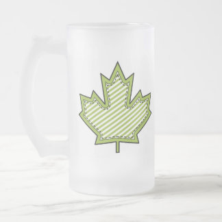 Lime Green Striped Applique Stitched Maple Leaf Frosted Glass Mug