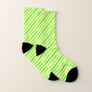 Lime Green Striped Socks 1