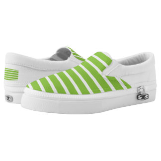 Lime Green Striped Zipz Slip On Shoes Printed Shoes