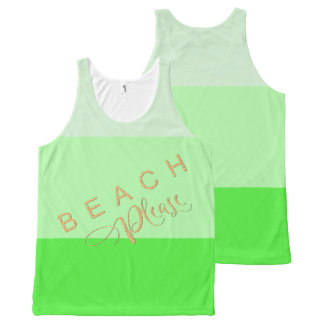 Lime Green Stripes  Beach Please Gold Glitter All-Over Print Tank Top