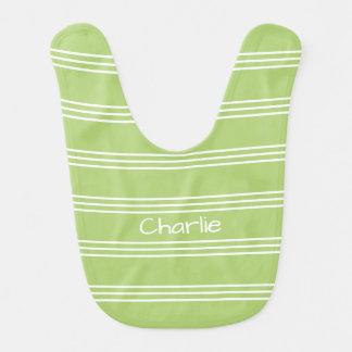 Lime Green Stripes custom monogram baby bib
