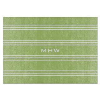 Lime Green Stripes custom monogram cutting boards
