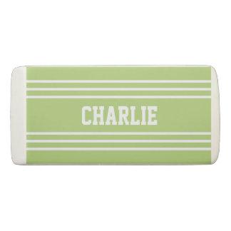 Lime Green Stripes custom monogram eraser