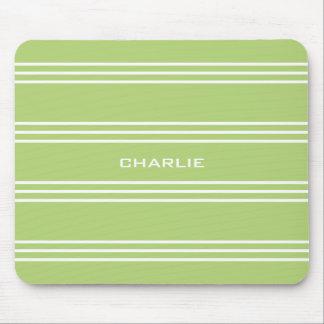 Lime Green Stripes custom monogram mousepad