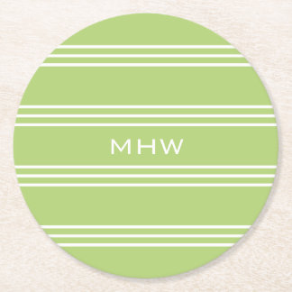 Lime Green Stripes custom monogram paper coasters
