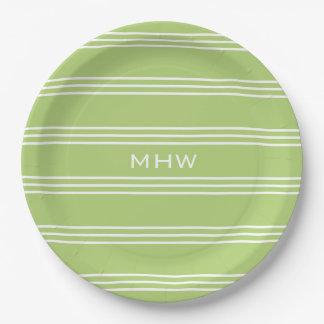 Lime Green Stripes custom monogram paper plates