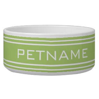 Lime Green Stripes custom monogram pet bowls
